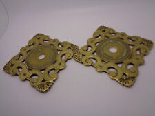 ANTIQUE BRASS DOOR HANDLE PLATES GOTHIC ART DECO? FAN AND SCROLL DETAIL