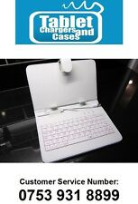 """White USB Keyboard Leather Case/Stand for 7"""" Coby Kyros Android Tablet PC"""