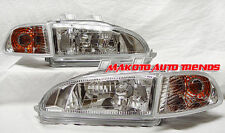 92-95 Civic 4 Dr Euro Clear Headlights + Corner Lights Set DEPO GLASS HEADLAMPS!