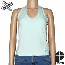 PROTEST 'CRUSH' WOMENS HALTER TOP SHIRT SNOW WHITE OXIDE BLUE 10 12 14 RRP £23
