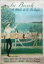 Affiche ancienne Tourisme LA BAULE Le midi de la Bretagne MALCLES Entoilée 50's