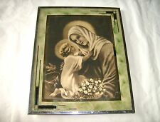 Collectible Religious Mary & Baby Jesus Picture in Heavy Glass Frame