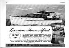 1945 Print Ad Grebe 70 Diesel Power Yachts Boat Henry Grebe Chicago,IL