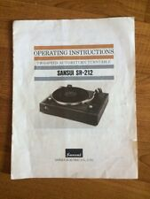 Manuale cartaceo ORIGINALE del giradischi SANSUI SR-212 ! UNICO ! INTROVABILE !