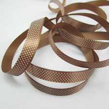 "5 Yards 5/8"" 15mm Width coffee Color Printed Polka Dot Grosgrain Ribbon Roll ZS1"
