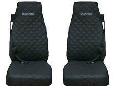 SCANIA Truck Seat Covers 2 piece (1+1)BLACK WITH GRAY LOGO