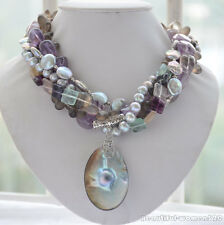 z6247 5strands 10mm baroque amethyst gray freshwater pearl fluorite necklace 18i