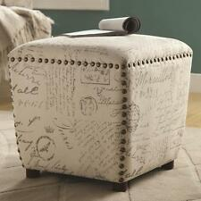 Upholstered Ottoman with French Script and Nailhead Trim by Coaster 501108