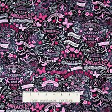 Breast Cancer Awareness Fabric - Word Ribbon Chalkboard Timeless Treasures YARD