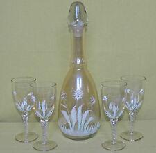 Karaffe mit Verschluss und 4 Gläsern - Erhaben bemalt - etwa Jugendstil