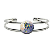 Horse Running - Painting - Novelty Silver Plated Metal Cuff Bangle Bracelet