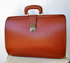 Vintage Antique Large Tanned Textured Cowhide Leather Briefcase Man Bag Rare