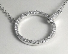 white gold finish Sterling Silver .925 Necklace  micro pave  Circle of Love18""