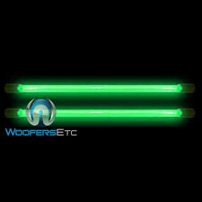 "2 GREEN TIP NEON 24"" INCH BRIGHT CAR 12 VOLT LIGHT GLOW TUBE BARS PAIR NEW"