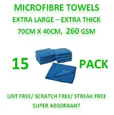 New 15 Microfibre Towels - Extra Large Thick Cleaning Cloths 70cm x 40cm 260GSM