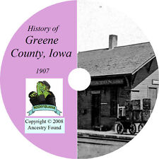 1907 GREENE County Iowa IA - History & Genealogy - Jefferson - Ancestry CD DVD