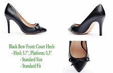 Ladies Black Bow Detail Faux Leather Court Shoes in Size UK 3/ EU36