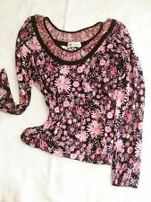 BLUMARINE ITALY PINK/BLACK  FLORAL KNIT LONG SLEEVE TOP SWEATER  SMALL PERFECT