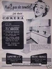 PUBLICITÉ 1955 COMERA CUISINE MODERNE LAPEYRE & Cie - ROCHE-FRANCE INSTALLATEURS