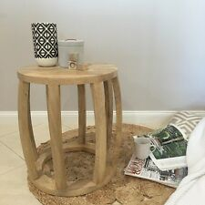 Orson & Blake Timber Side Table/Mango Wood/Wooden Bedside Table/Drum Table
