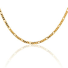 "24K Gold Filled Jewelry Flat FIGARO Link Chain Children Kids Necklace 14"" 2.5mm"