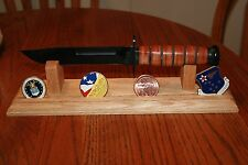 """Solid Oak Wood 14"""" Knife Display Stand with Challenge Coin Display"""