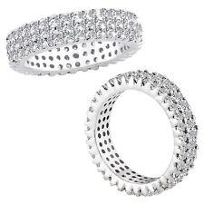 3 Carat Diamonds 3 Line Full Eternity Fancy Band Ring 14 White Gold G/VS2