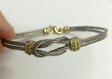 Sailor Nautical Love Knot Infinity Stainless Steel Cable Wire Bangle Bracelet