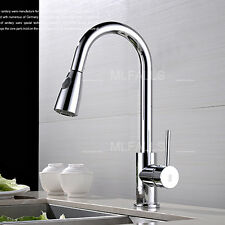 Kitchen Sink Faucet Swivel Spout Single Handle Pull Down Chrome Finish Mixer Tap