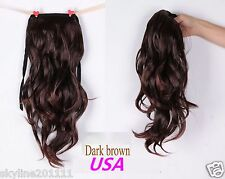 Long Wavy Curly Ponytail Pony Hair Wig-Dark Brown(USA Seller)