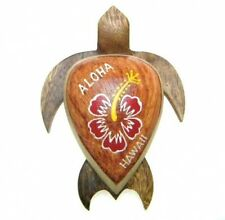 "NEW Hawaiian Souvenir Fridge Magnet  ~ 4"" Large Wood Turtle # 18122 (QTY 2)"