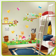 Animal Wall Stickers Owl Jungle Zoo Nursery Baby Bedroom Kids Decals Mural Art