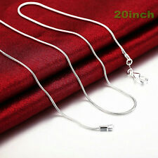 Xmas New Fashion 1MM Solid Silver 20inch Snake Chain&Necklace LL7 For Pendant