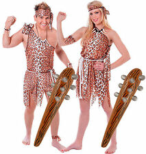 Caveman & Cavewoman Couples Fancy Dress Costume with 2 Inflatable Clubs