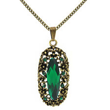 Vintage Style Emerald Green Antique Gold Luxury Pendant Necklace N485