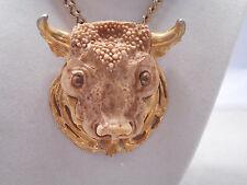 Vintage Razza Bull Zodiac Pendant Necklace Gold Tone-Estate Jewelry Sale