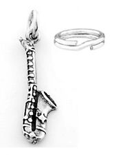 STERLING SILVER SAXOPHONE CHARM WITH ONE SPLIT RING