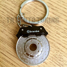 Spinning Brake Disc Keychain Keyring with Calipers - Chrome Metal, NO PLASTIC!