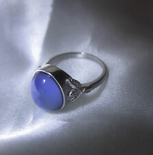STERLING SILVER Oval MOOD RING Sz 8  Fully Hallmarked Slight cosmetic flaw