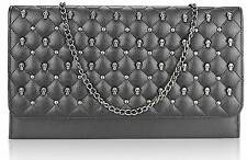 CLUTCH hand BAG WEDDING EVENING quilted chain studded skull gothic 218 black