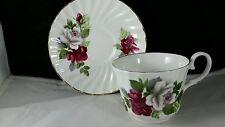 Royal Stuart English Bone China Teacup and Saucer Red and White Roses