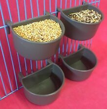 4 X Dog Cat Bird Rabbit Cage Clip On Water Food Bowl Countainer 2 Hook Cup 7 cm