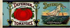 VINTAGE CAN LABEL MARYLAND 1920 DEFENDER SAILING YACHT ORIGINAL GENERAL STORE