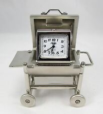 """Sanis BBQ GRILL Silver Desk Clock Gift """"New in box"""""""