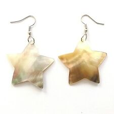 REAL OYSTER SHELL MOTHER OF PEARL STAR EARRINGS HAND MADE PINK NATURAL.