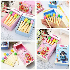 8 Pcs/Lot Funny Match Shape Pencil Eraser Office School Study Rubber