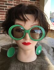 Hippie Flower Child Bright Green 1960's Vintage Mod Sunglasses Earrings on Chain