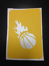 Basketball wih Flames stencil for Airbrush Tattoo craft Art