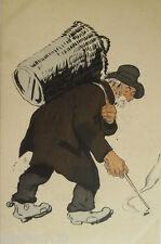 """""""Obdachloser, Bettler, Korb, Zigaretten, Aufsammeln"""" 1910, sig. Sancha ♥ (16230)"""