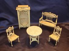 Antique C1920 Fancy French 5pc Set Paul Leonhardt Armoire Dollhouse MIniature